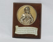 Holy Mother Mary Plaque - Religious Wall Hanging - Vintage Home Decor