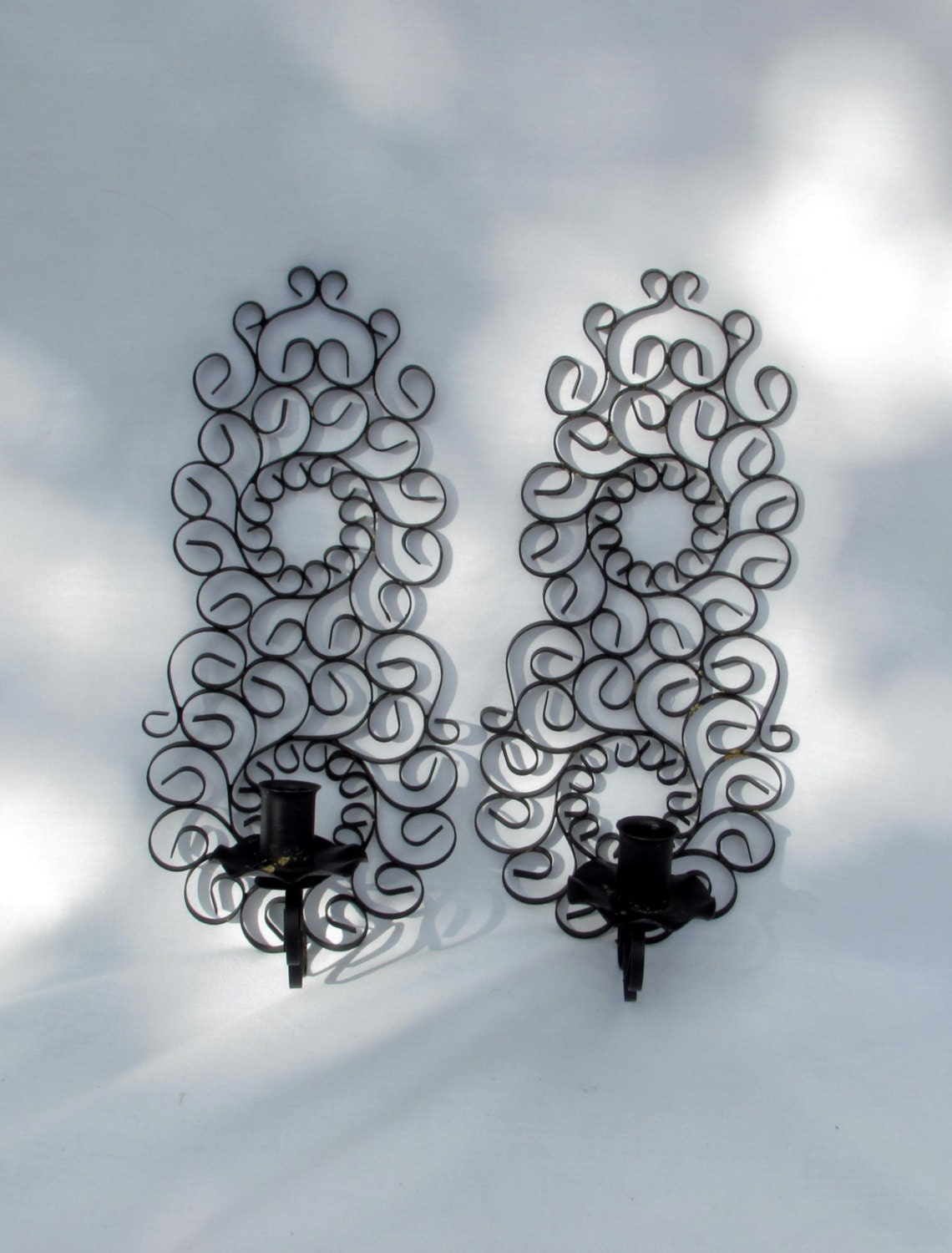 Black Scroll Wall Sconces : Fancy Candleholder Wall Sconces Pair Curly Black Scroll