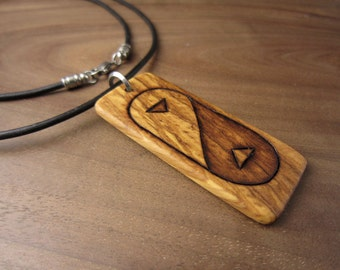 Yin Yang Necklace Wood Art Zen Jewelry, Olive Wood Yin Yang Jewelry, Yin Yang Pendant, Zen Necklace With Leather Cord