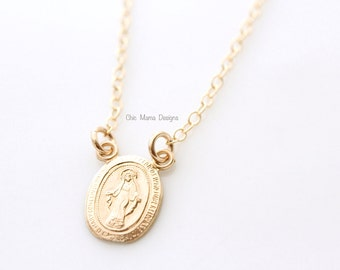 Gold or Silver Miraculous Medal Necklace, Gold Virgin Mary Pendant Charm Necklace, Gift For Her, Religious Catholic Christian Necklace
