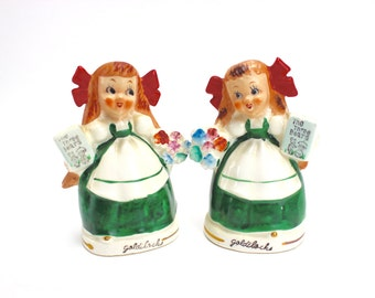 Vintage Goldilocks Salt Pepper Set, Relco, MINT, 1950s, Cottage Chic Shakers, Fairy Tales, Story Book Shakers, Japan, 1950s, Epsteam
