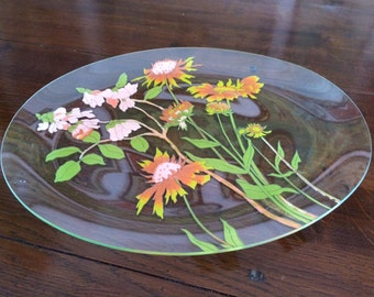 Hand Painted Flowers Signed Glass Platter