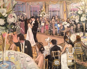 LIVE Wedding Painting --- DMV area --- Custom Painting of your wedding reception created LIVE