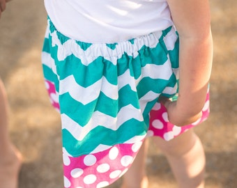 Girls Chevron Skirt - Teal and pink trendy skirt - Handmade chevron and polka dot skirt - girls fashion - childrens clothes -  size 3-4