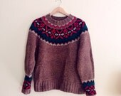 Vintage Gap Knit by Hand Scandinavian Sweater // Brown, Green, Red Fair Isle Jumper // Nordic Hipster Pullover // Boyfriend Sweater / M / L