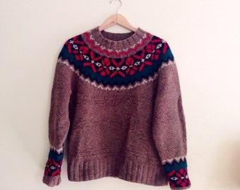 Vintage Gap Knit by Hand Scandinavian Sweater // Brown, Green, Red Fair Isle Jumper // Nordic Hipster Pullover // Boyfriend Sweater / M / L