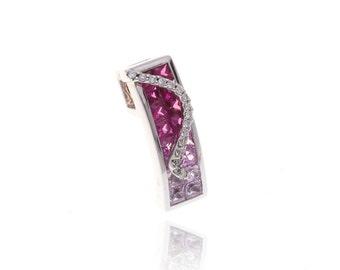 Multicolor Pink Sapphire & Diamond Pendant 18K Gold (1.87ct tw) SKU: 8546