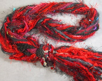 SKINNY STRING SCARF/Necklace in pretty Rosey Red and Black - with added Bling Jewelry - Perfect for Valentine's Day - Novelty yarns