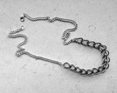RESERVED to Björn _ Oxidized Silver Bib Necklace Black Chain Necklace