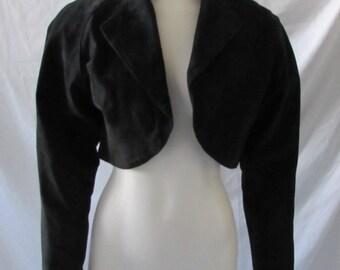 Vintage Black/ Leather/Suede Shrug/Bolero/Jacket Lined/ Short Chic Boho High Fashion