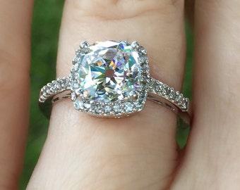 Antique Cushion Cut Engagement Ring - Edwardian Engagement Ring - Old Mine Cut Engagement Ring - Halo Style Engagement Ring