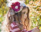 "New! Gorgeous Fall Colors! The ""Vintage Raspberry & Roses"" headband child headband matches Persnickety fall/winter line"