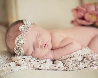 SUPER SALE- Newborn Sized Crystal Band Vintage Style Crystal Beaded Swirl Stone Headband Prop