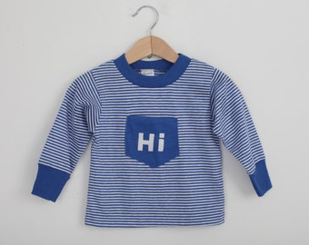 Vintage Carters 1970s Long Sleeved T with Pocket in Blue and White Stripe