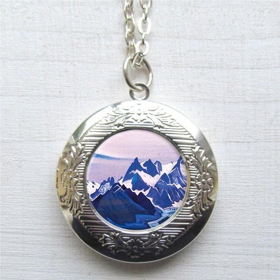 mountain necklace photo locket silver locket mountain