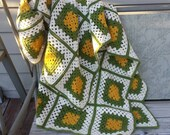 Vintage autumn afghan, granny square cream, mustard, avacado colors, 76 by 57 inches