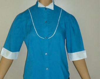Rare 1970s Turquoise and White Vintage Short Sleeved Blouse