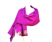 Silk Bollywood Wrap Gold Sari Embroidery Magenta Fuchsia