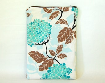 Blue Hydrangea Tablet Case - Padded & Quilted with Zipper  - for 7 inch tablet or e-reader - iPad mini, Galaxy Tab, Nexus 7, Kobo and Kindle
