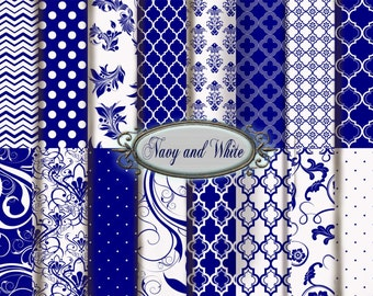 Navy Digital Paper: Navy and White Printable Paper Pack, Navy Floral and Navy Polka Dots, Navy and White Scrapbooking Paper