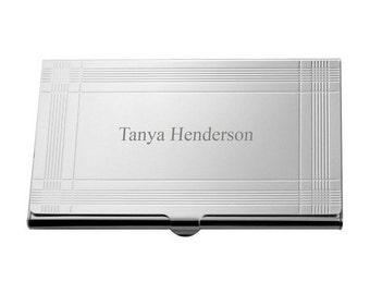 Modern Silver Business Card Holder