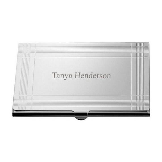 Modern silver business card holder by memorablegift on etsy for Modern business card case