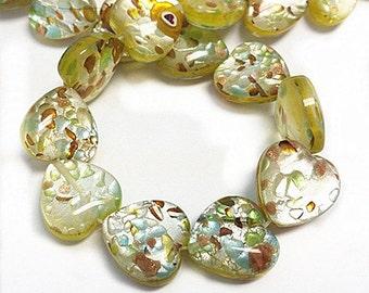 12pc 16mm Heart Shape Millefiori Glass Beads-9854o