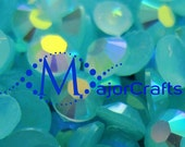 Aqua Blue AB #46 Flat Back Half Round Resin Rhinestones - MajorCrafts Scrapboooking Embellishment DIY Strass Faceted Diamante Craft Gems