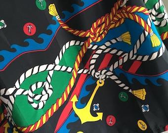"80s Waisted Nautical Print Skirt 28"""