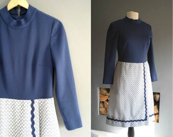 60s Navy & White A Line Dress