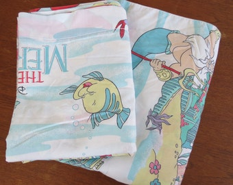 90s The Little Mermaid Sheet Set - Single or Twin Flat Sheet Set - Childrens Sheet 2 pieces