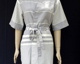 Women's gray colour soft light weight cotton kimono bathrobe, dressing gown, bridesmaid robe, spa robe, maternity robe, beach robe.