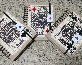 Notebook, playing card notebook, set of 3 notebooks