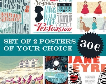 2 illustrated posters of your choice (12,60 x 18,10 inch)