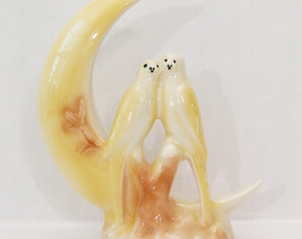 Vintage Lovebirds on Crescent Moon Porcelain Figurine 50s 1950s Yellow and White with Brown Colors