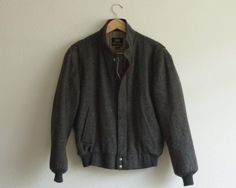 Vintage Aberdeen Dark Gray Wool Bomber Style Jacket Coat 40