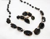 Art Deco Necklace, Openback Bezel Black Necklace, Vintage Collar Choker Boho Jewelry Vintage 1930s