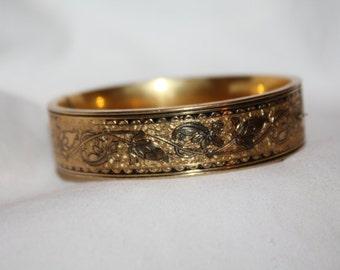 Victorian Enamel Bangle Bracelet, Antique Hinged Bangle 10kt GF 1900s Fine Jewelry