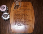 Personalized Recipe Cutting Board- Your recipe engraved in your own handwriting.