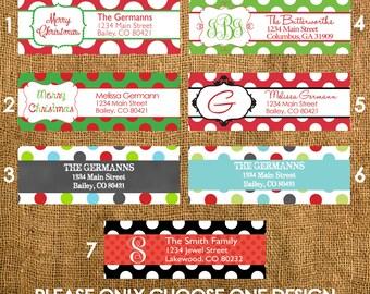 60 Christmas Holiday Polka Dots Return Address Labels, Polka Dots Address Labels, Christmas Address Labels, Holiday Address Labels