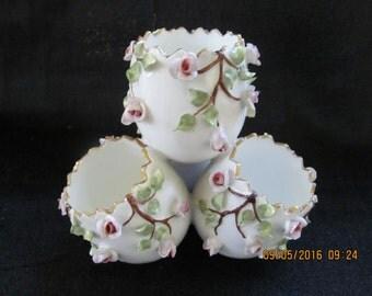 Art Deco Vista Alegre Porcelain 4 Egg Vase Applied Pink Roses Portugal 1940s Vintage