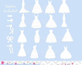 80% OFF - INSTANT DOWNLOAD, white bridesmaid dresses silhouettes clipart, silhouette clipart,  for greeting cards, announcements, scrapbooki