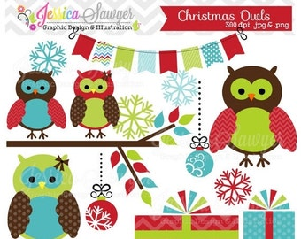 80% OFF - INSTANT DOWNLOAD, christmas owl clipart for personal and commercial use