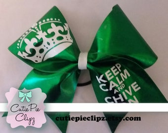 Keep Calm and Chive On Cheer Bow