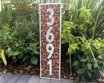 Vertical Mosaic Address Plaque, Outdoor House Number Sign