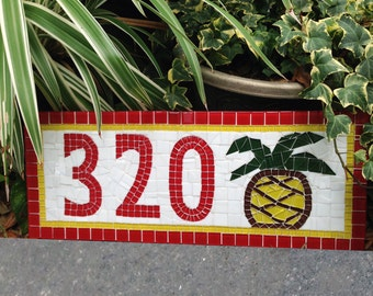 Mosaic Address Sign with Pineapple in Red and Yellow
