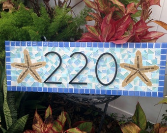 Hanging Address Sign / Mosaic House Number Plaque / Blue, Aqua, White Address Plaque with Starfish