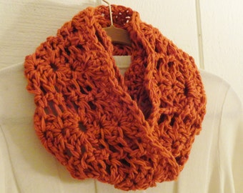 Crochet Chunky Lace Infinity Scarf Pumpkin Orange Circle Scarf 22 Colors