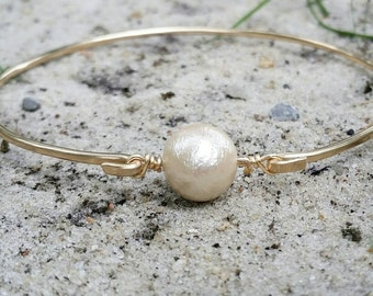 Gold cotton pearl bangle, cotton anniversary gift, pearl bracelet, gold stacking bracelet, wedding jewelry gift, bridesmaid bracelet