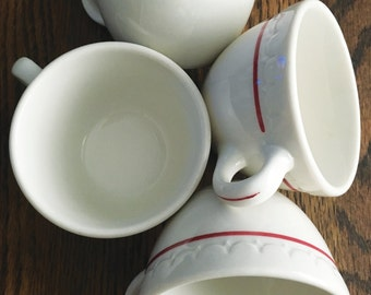 Set of Four Red and Cream Syracuse China Diner Style Coffee Cups Econo Rim Patented USA